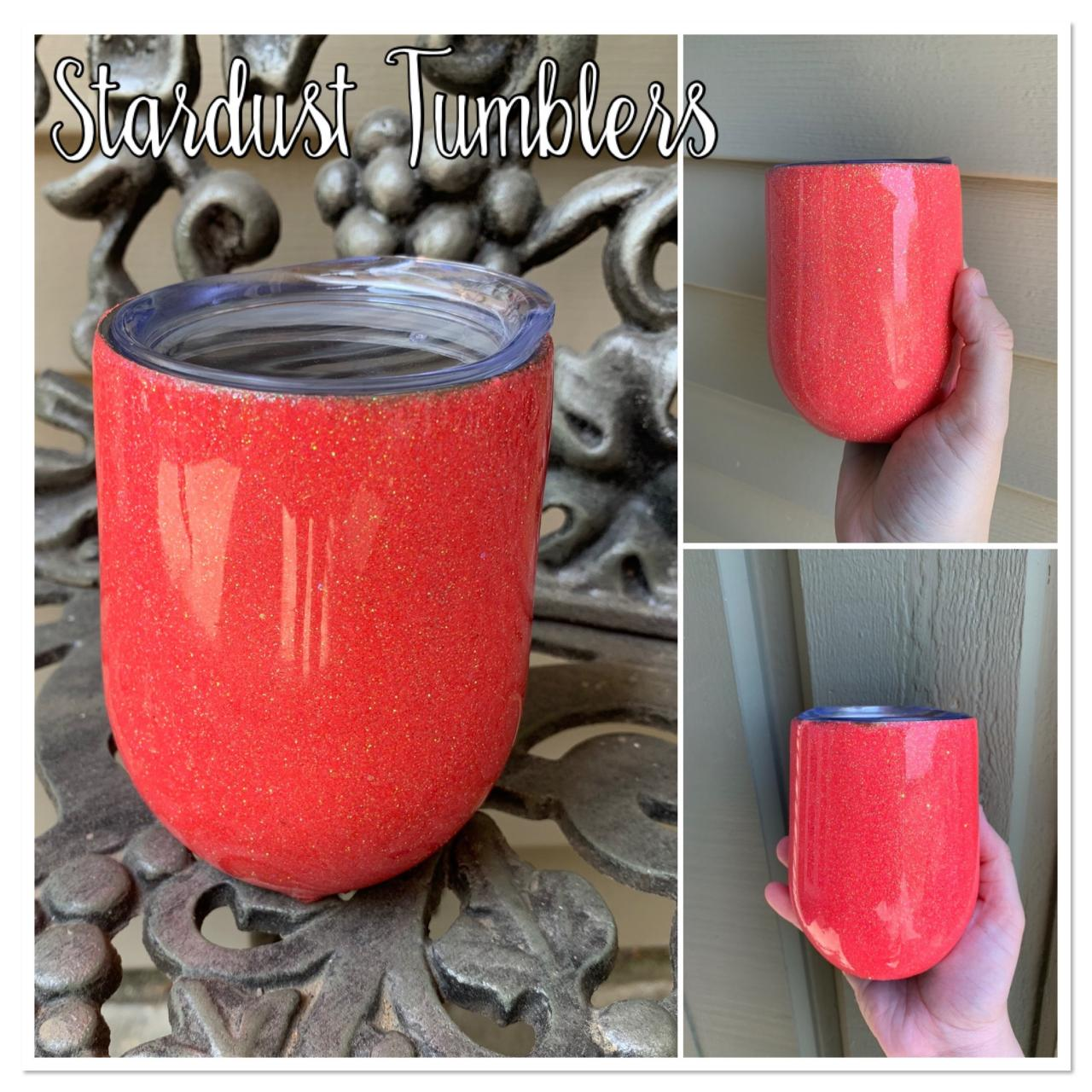 Coral Glitter Wine Tumbler-tumblers with straws-glitter tumbler-wine tumbler-coral tumbler-tumbler cups-custom tumblers-tumblers for ladies
